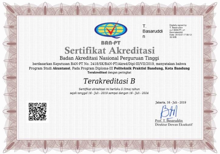 Akreditasi Program Studi Akuntansi dengan predikat B